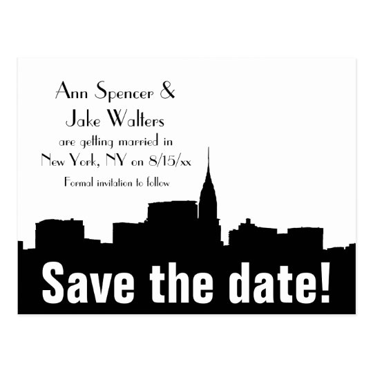 NYC Wide Chrysler 01 Silhouette Save the Date Postcard
