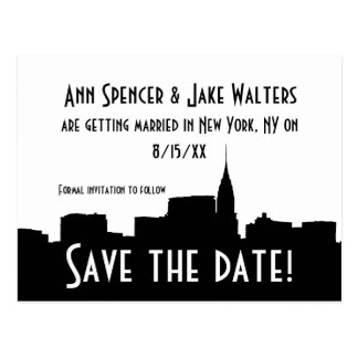 NYC Wide Chrysler 01B Silhouette Save the Date Postcard