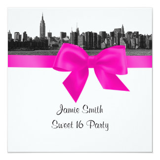NYC Wide Skyline Etch BW Hot Pink Sweet Sixteen SQ 5.25x5.25 Square Paper Invitation Card