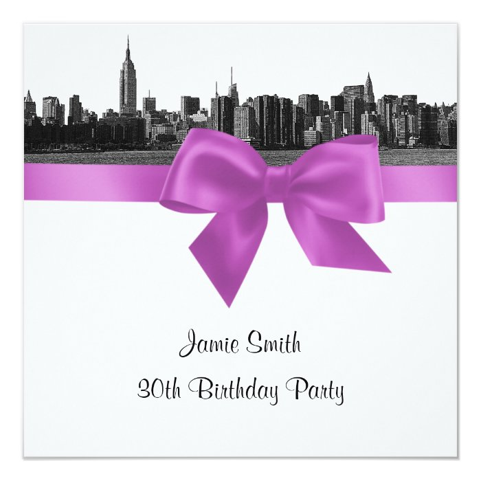 NYC Wide Skyline Etch BW Lilac Birthday Pty SQ Card