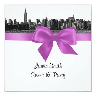 NYC Wide Skyline Etch BW Lilac Sweet Sixteen SQ Card
