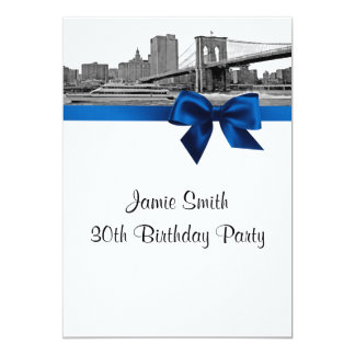 NYC Wide Skyline Etched BB BW Royal Blue Birthday 5x7 Paper Invitation Card