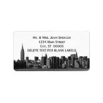 NYC Wide Skyline Etched BW Address Label