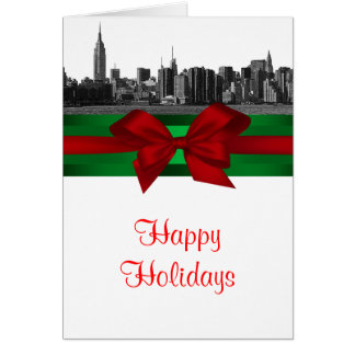 NYC Wide Skyline Etched BW Christmas Holiday Cards