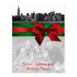 NYC Wide Skyline Etched BW Christmas Your Photo Postcard