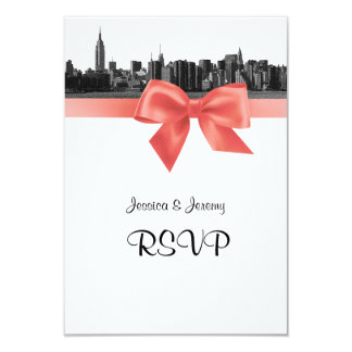 NYC Wide Skyline Etched BW Coral RSVP #2 Personalized Announcement Card