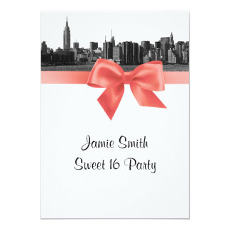 """NYC Wide Skyline Etched BW Coral Sweet 16 5"""" X 7"""" Invitation Card"""