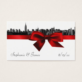 NYC Wide Skyline Etched BW Dark Red Escort Cards