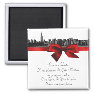NYC Wide Skyline Etched BW Dark Red Save the Date Magnet