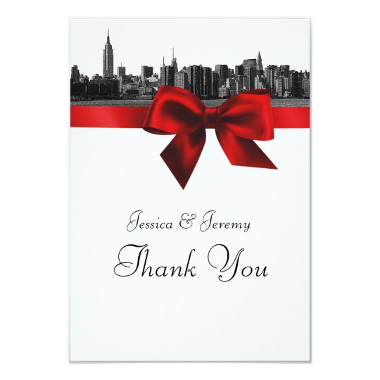 NYC Wide Skyline Etched BW Dark Red Thank You Card