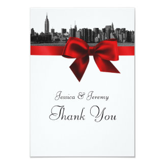 NYC Wide Skyline Etched BW Dark Red Thank You Announcements