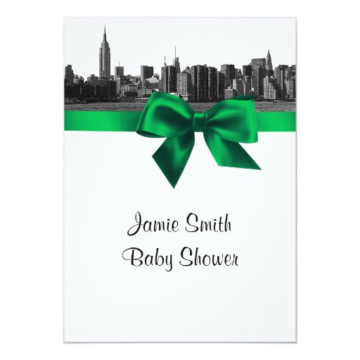 NYC Wide Skyline Etched BW Green Baby Shower Card