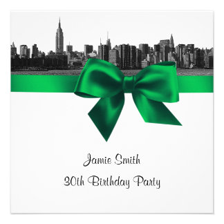 NYC Wide Skyline Etched BW Green Birthday Pty SQ Invitations