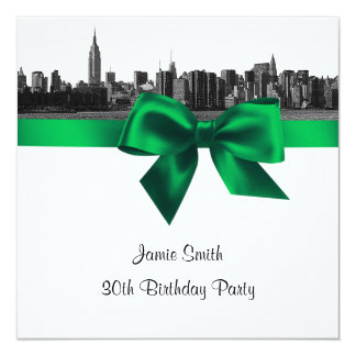 NYC Wide Skyline Etched BW Green Birthday Pty SQ 5.25x5.25 Square Paper Invitation Card