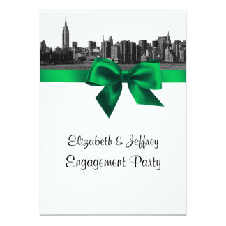 NYC Wide Skyline Etched BW Green Engagement Party 5x7 Paper Invitation Card