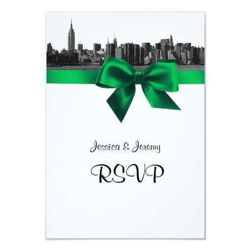 NYC Wide Skyline Etched BW Green RSVP #2 Custom Announcement
