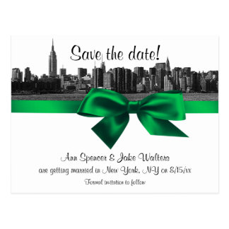 NYC Wide Skyline Etched BW Green Save the Date Postcard