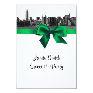NYC Wide Skyline Etched BW Green Sweet Sixteen 5x7 Paper Invitation Card