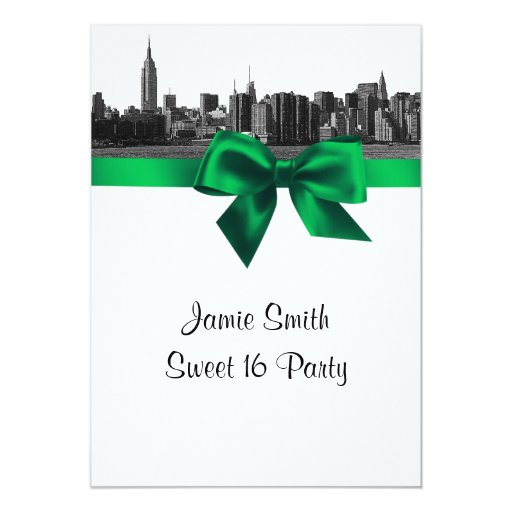 NYC Wide Skyline Etched BW Green Sweet Sixteen Invites