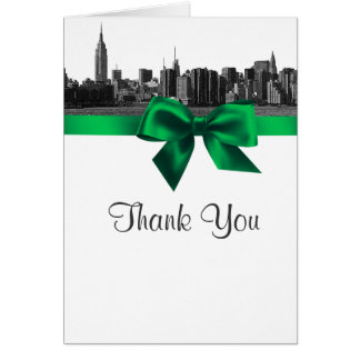 NYC Wide Skyline Etched BW Green Thank You Stationery Note Card