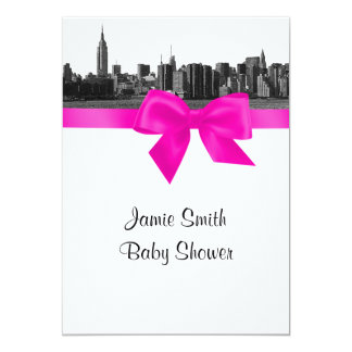 """NYC Wide Skyline Etched BW Hot Pink Baby Shower 5"""" X 7"""" Invitation Card"""