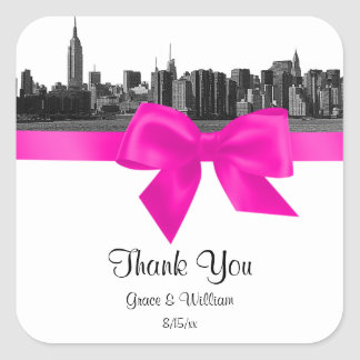 NYC Wide Skyline Etched BW Hot Pink Favor Tag