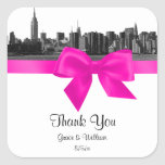 NYC Wide Skyline Etched BW Hot Pink Favor Tag Sticker