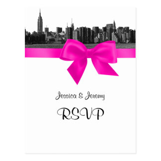 NYC Wide Skyline Etched BW Hot Pink RSVP 1 Postcard