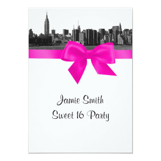 NYC Wide Skyline Etched BW Hot Pink Sweet 16 5x7 Paper Invitation Card
