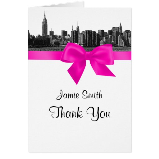 NYC Wide Skyline Etched BW Hot Pink Thank You #2 Card