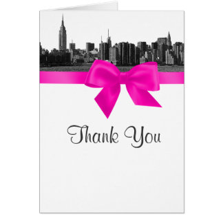 NYC Wide Skyline Etched BW Hot Pink Thank You Stationery Note Card