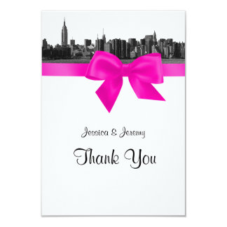 NYC Wide Skyline Etched BW Hot Pink Thank You Card