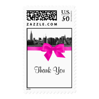 NYC Wide Skyline Etched BW Hot Pink Thank You Postage