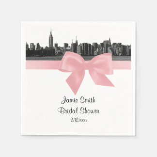 NYC Wide Skyline Etched BW Light Pink Ribbon Paper Napkins