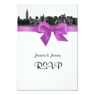NYC Wide Skyline Etched BW Lilac RSVP #2 Card
