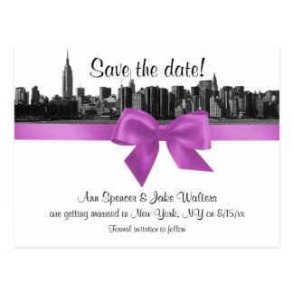 NYC Wide Skyline Etched BW Lilac Save the Date Postcard