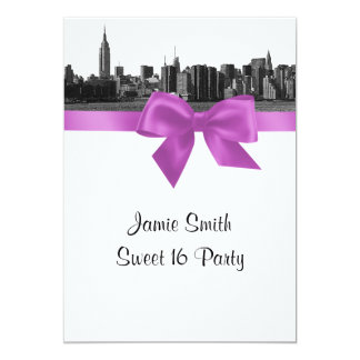 NYC Wide Skyline Etched BW Lilac Sweet 16 Card