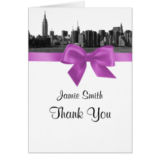 NYC Wide Skyline Etched BW Lilac Thank You #2 Greeting Cards