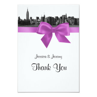 NYC Wide Skyline Etched BW Lilac Thank You Card