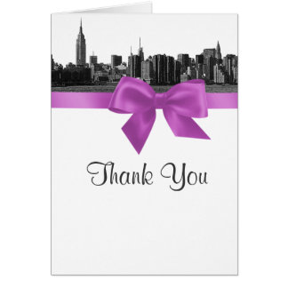 NYC Wide Skyline Etched BW Lilac Thank You Stationery Note Card
