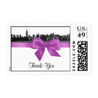 NYC Wide Skyline Etched BW Lilac Thank You H Postage Stamp
