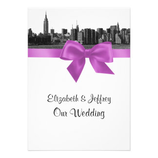 NYC Wide Skyline Etched BW Lilac Wedding Custom Announcement