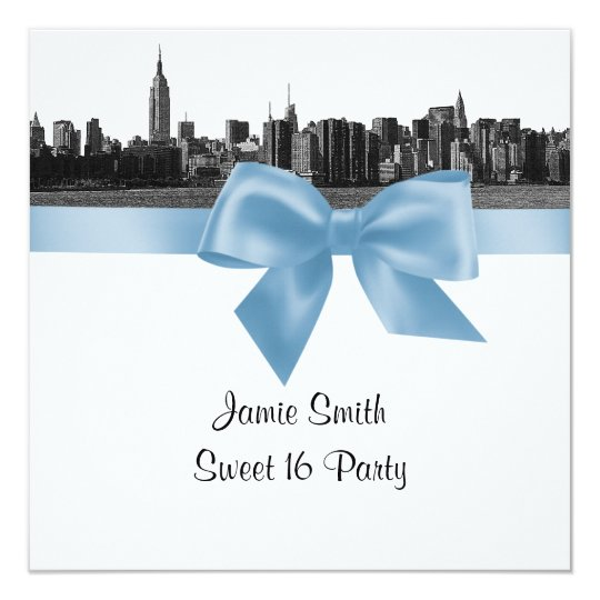 NYC Wide Skyline Etched BW Lt Blu Sweet Sixteen SQ Card