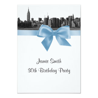 NYC Wide Skyline Etched BW Lt Blue Birthday Party Card
