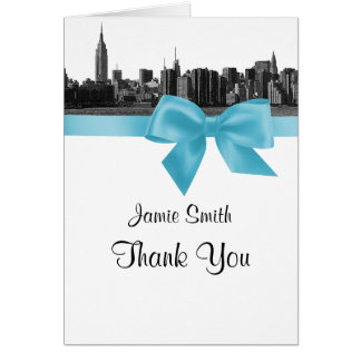 NYC Wide Skyline Etched BW Lt Blue Thank You #2 Stationery Note Card