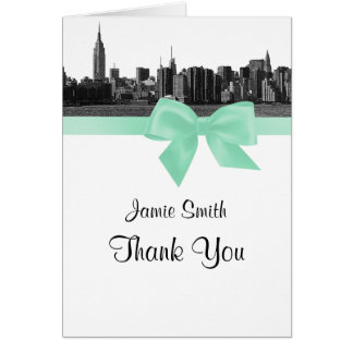 NYC Wide Skyline Etched BW Mint Thank You #2 Stationery Note Card