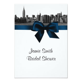 """NYC Wide Skyline Etched BW Navy Blue Bridal Shower 5"""" X 7"""" Invitation Card"""