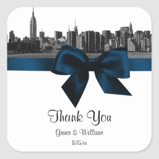 NYC Wide Skyline Etched BW Navy Blue Favor Tag