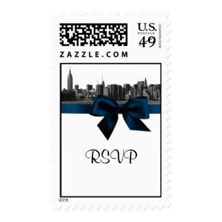 NYC Wide Skyline Etched BW Navy Blue RSVP Stamp