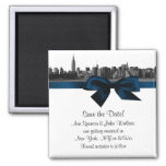 NYC Wide Skyline Etched BW Navy Blue Save the Date Fridge Magnets